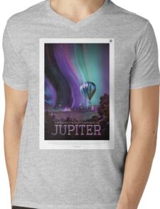 Retro NASA Space Poster - Jupiter Mens V-Neck T-Shirt