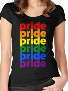 LGBTQ Pride (rainbow on black background) Women's Fitted Scoop T-Shirt