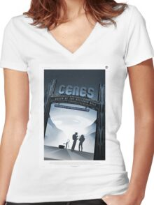 Retro NASA Space Poster - Ceres Women's Fitted V-Neck T-Shirt
