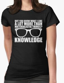 Knowledge - White Text Womens Fitted T-Shirt