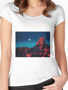 Space art landscape: Loneliness Women's Fitted Scoop T-Shirt