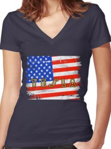 Tesla the band Tour 2016 06 Women's Fitted V-Neck T-Shirt
