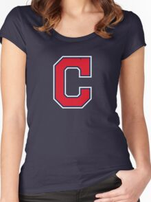 INDIANS CLEVELAND SIMPLE LOGO Women's Fitted Scoop T-Shirt