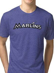 MIAMI MARLINS SIMPLE LOGO B/W Tri-blend T-Shirt