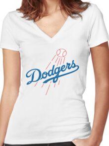 DODGERS BASEBALL LOGO Women's Fitted V-Neck T-Shirt