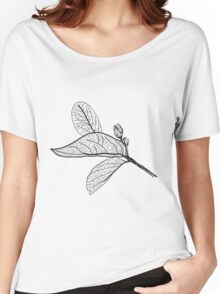 Leaves contours on white background Women's Relaxed Fit T-Shirt