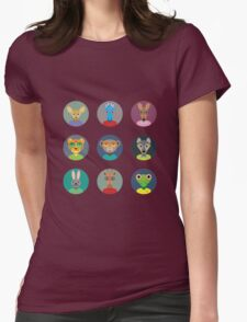 Animals faces  Womens Fitted T-Shirt