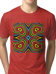 Colourful hearts on black  Tri-blend T-Shirt