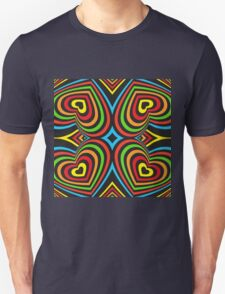 Colourful hearts on black  T-Shirt