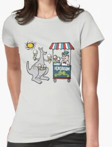 Cartoon of happy kangaroo with icecream cones  Womens Fitted T-Shirt