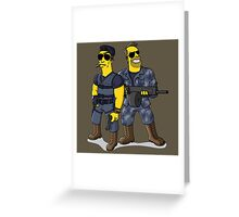 Sylvester Stallone and Arnold Schwarzenegger Greeting Card