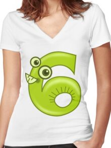 6 - Six Women's Fitted V-Neck T-Shirt