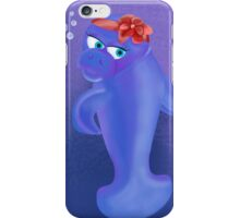 Manatee with red ribbon iPhone Case/Skin