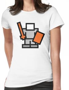 Pixel Game 8Bit Shield and Sword Man Womens Fitted T-Shirt