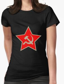 Communist Star; Hammer And Sickle Womens Fitted T-Shirt