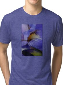 blue iris flower and bud abstract Tri-blend T-Shirt