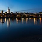 British Symbols and Landmarks - Saint Paul's Cathedral Blue Hour Reflections by Georgia Mizuleva