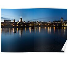British Symbols and Landmarks - Saint Paul's Cathedral Blue Hour Reflections Poster