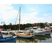 Line of Docked Boats Photographic Print