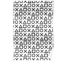 Gamer Pattern Black on White Poster