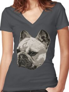 Frenchie - portrait Women's Fitted V-Neck T-Shirt