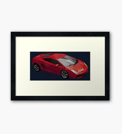 Low Poly Sports Car Framed Print