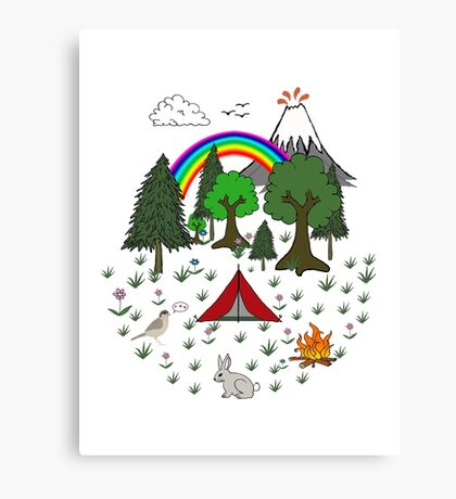 Cartoon Camping Scene Canvas Print