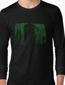 The Matrix Inspired Raining Code Design Long Sleeve T-Shirt