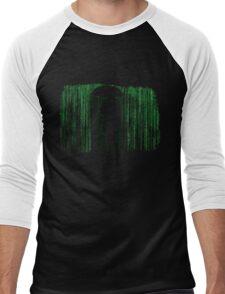 The Matrix Inspired Raining Code Design Men's Baseball ¾ T-Shirt