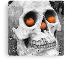 Skull with pumpkins Canvas Print