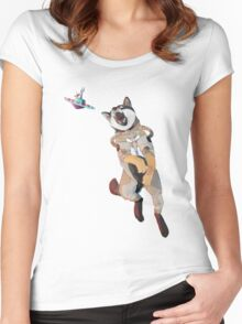 Shiba Inu from Space Catching a UFO! Women's Fitted Scoop T-Shirt