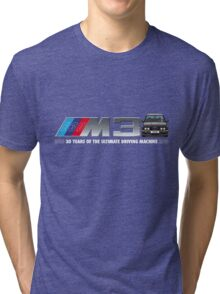 BMW E30 M3 30th Anniversary (Black Sport Evo) White Text Tri-blend T-Shirt