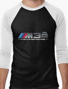 BMW E30 M3 30th Anniversary (Diamond Black) White Text Men's Baseball ¾ T-Shirt