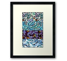 BLUE TROPICAL COLLAGE Framed Print