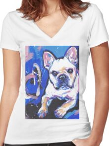 French Bulldog Dog Bright colorful pop dog art Women's Fitted V-Neck T-Shirt