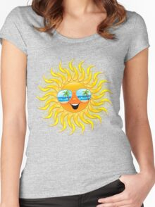 Summer Sun Cartoon with Sunglasses Women's Fitted Scoop T-Shirt
