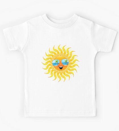 Summer Sun Cartoon with Sunglasses Kids Tee