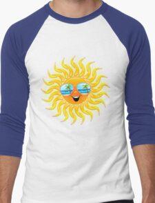 Summer Sun Cartoon with Sunglasses Men's Baseball ¾ T-Shirt
