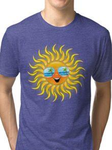 Summer Sun Cartoon with Sunglasses Tri-blend T-Shirt