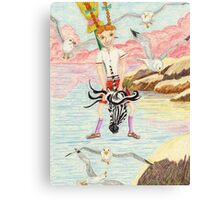 Zebra Hobby Horse And The Race With The Seagulls Canvas Print
