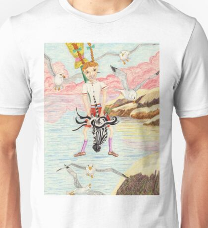 Zebra Hobby Horse And The Race With The Seagulls Unisex T-Shirt