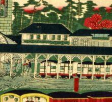 Ikkei - Steam Train from Shiodama 2 - 1872 - Woodcut Sticker