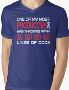 One of my most productive days was throwing away 1,000 lines of code Mens V-Neck T-Shirt