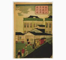 Ikkei - Steam Train Passing Through Shiodama Tokyo - 1870 - Woodcut Kids Tee