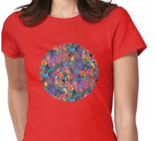 Popping Color Painted Floral on Grey Womens Fitted T-Shirt