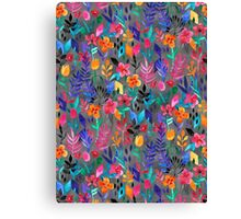 Popping Color Painted Floral on Grey Canvas Print