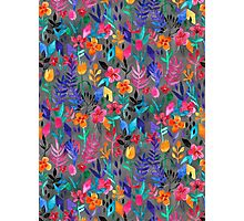 Popping Color Painted Floral on Grey Photographic Print