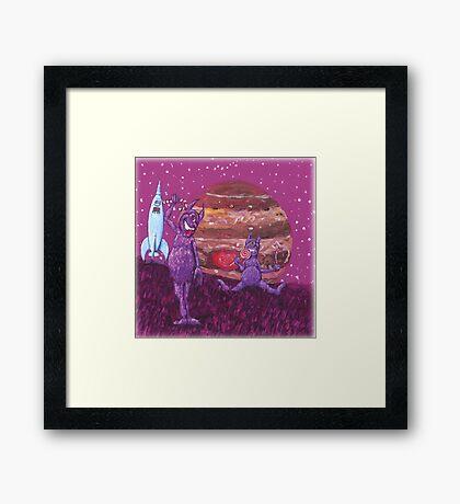 Purple Furry Cyclopes over Jupiter. Framed Print