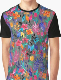 Popping Color Painted Floral on Grey Graphic T-Shirt