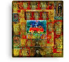 DAY OF THE DEAD Fireman with dalmatian fire dog in a fire truck  Canvas Print